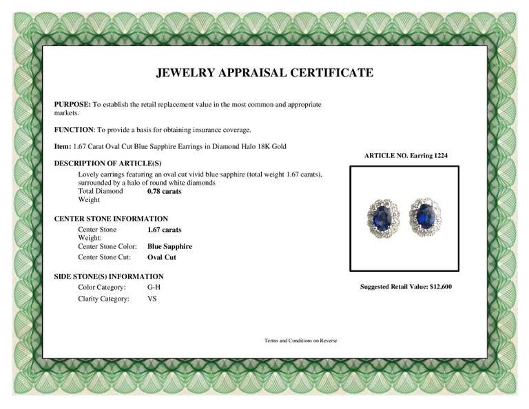 DiamondTown 1.67 Carat Oval Cut Blue Sapphire Earrings in Diamond Halo 18K Gold For Sale 1