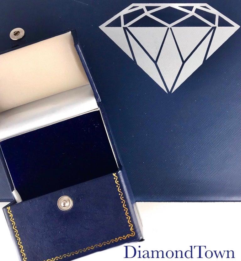 DiamondTown 1.67 Carat Oval Cut Blue Sapphire Earrings in Diamond Halo 18K Gold For Sale 2
