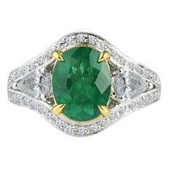 Diamond Town 1.70 Carat Oval Cut Fine Emerald and 0.73 Carat Diamond Ring