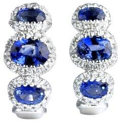 DiamondTown 1.70 Carat Vivid Blue Sapphire Lever-Back Stud Earrings