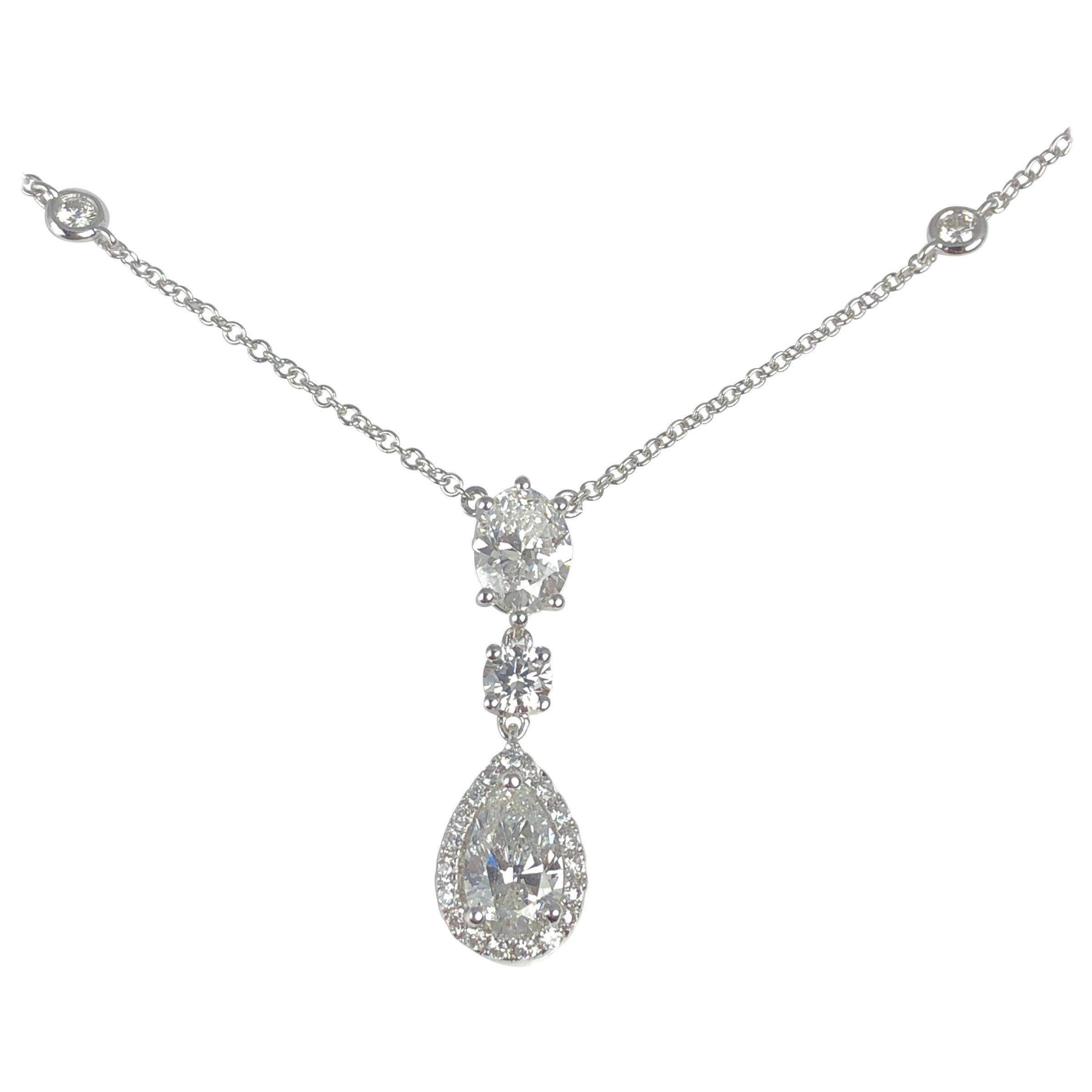 DiamondTown 1.77 Carat Diamond Three-Tier Pendant in 18 Karat White Gold