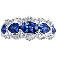 DiamondTown 1.78 Carat Sapphire Ring with 0.29 Carat Diamond