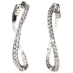 DiamondTown 1.8 Carat Swirl Hoop Earrings in 14 Karat White Gold