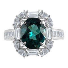 Diamond Town 1.84 Carat Exotic Green Tourmaline and Diamond Cluster Ring