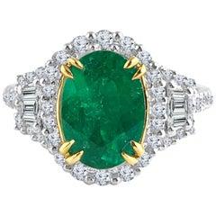 DiamondTown 1.93 Carat Oval Cut Emerald and Diamond Ring