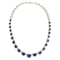 DiamondTown 19.34 Ct Vivid Blue Oval Cut Sapphire and 5.65 Ct Diamond Necklace
