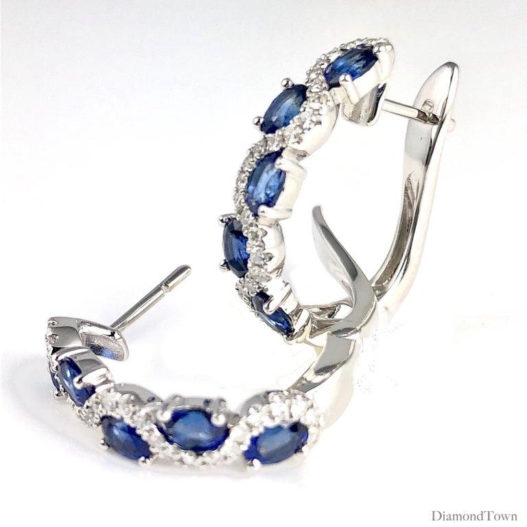 Contemporary DiamondTown 2.13 Carat Vivid Blue Sapphire and Diamond Lever-Back Stud Earrings For Sale