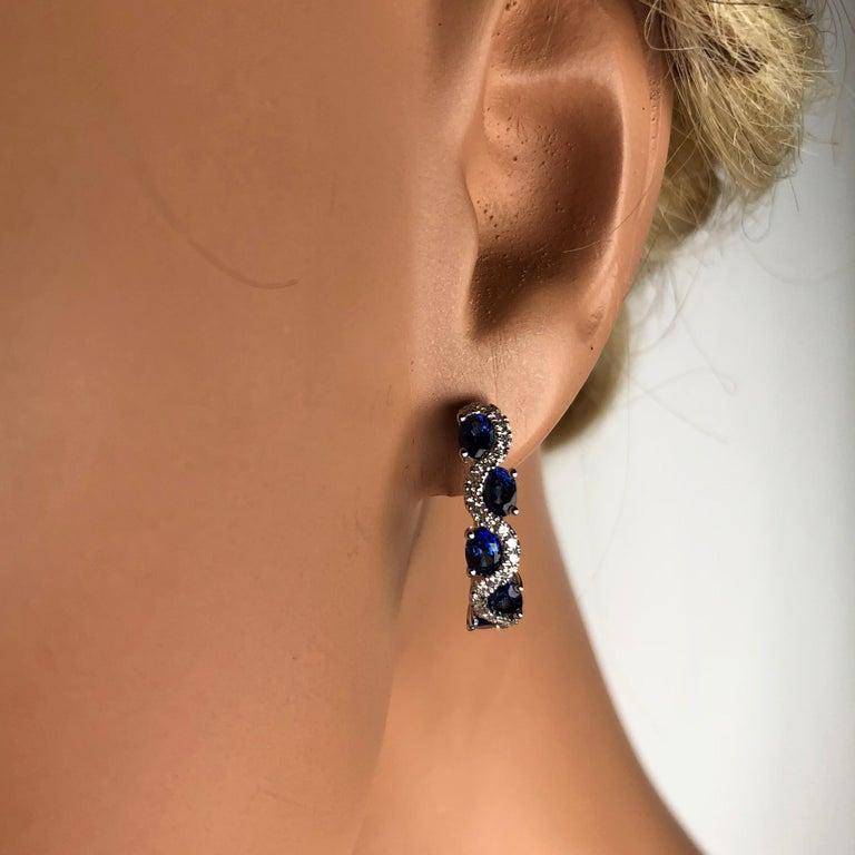 Oval Cut DiamondTown 2.13 Carat Vivid Blue Sapphire and Diamond Lever-Back Stud Earrings For Sale