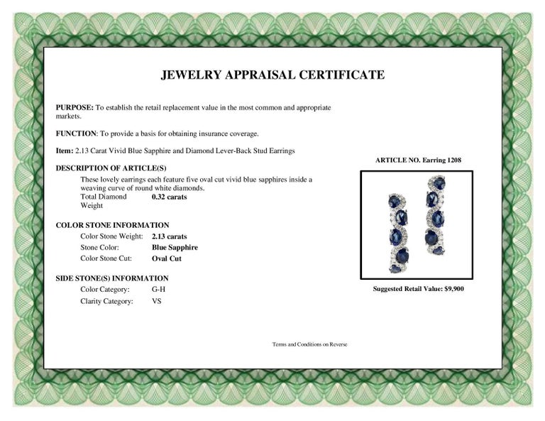 Women's DiamondTown 2.13 Carat Vivid Blue Sapphire and Diamond Lever-Back Stud Earrings For Sale