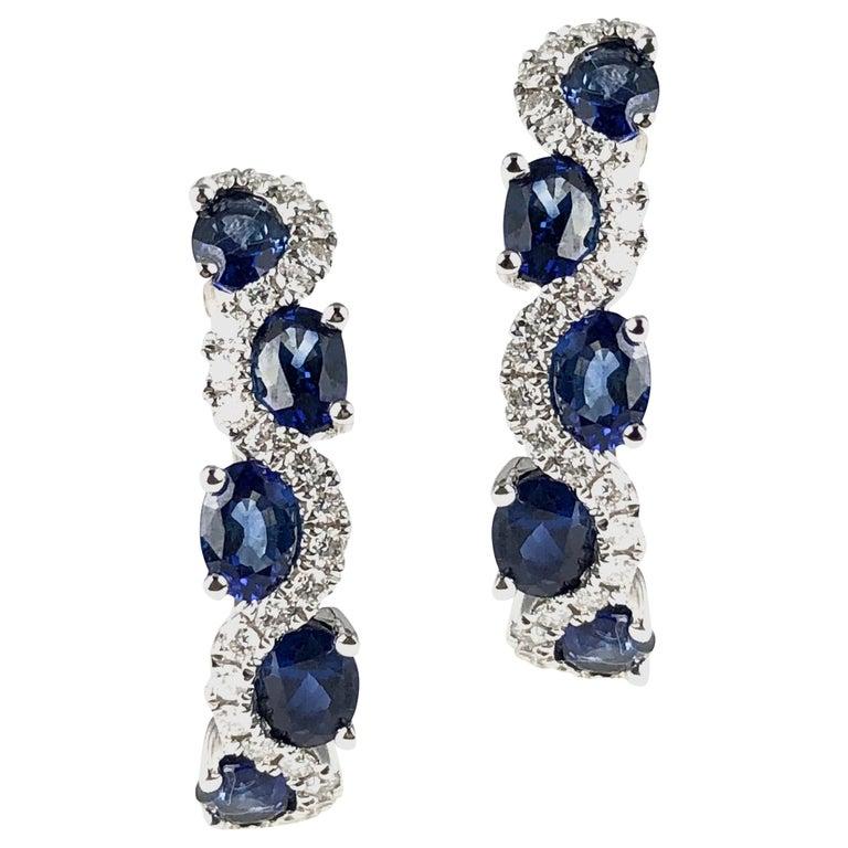 DiamondTown 2.13 Carat Vivid Blue Sapphire and Diamond Lever-Back Stud Earrings For Sale