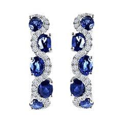 DiamondTown 2.13 Carat Vivid Blue Sapphire and Diamond Lever-Back Stud Earrings