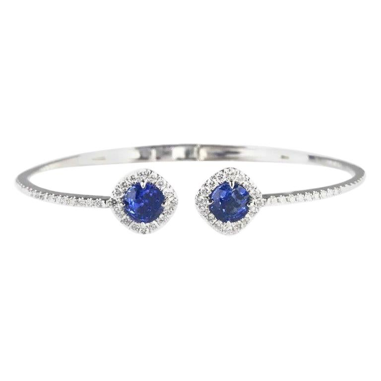 DiamondTown 2.23 Carat Sapphire and 0.86 Carat Diamond Bangle in 14k White Gold