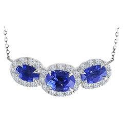 DiamondTown 2.38 Carat Oval Cut Sapphire and Diamond Pendant in 18 Karat Gold