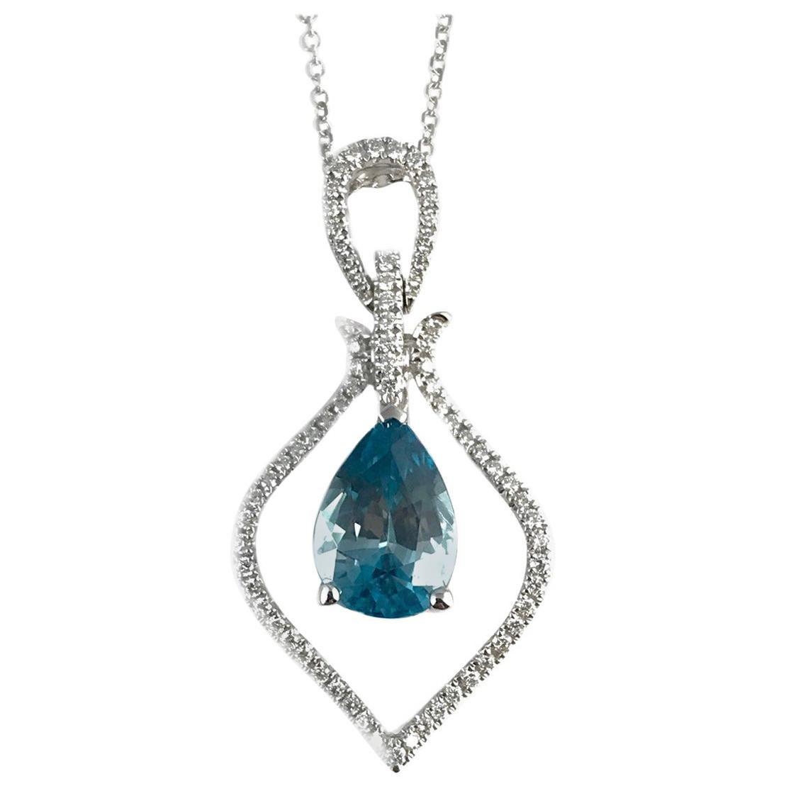 DiamondTown 2.87 Carat Pear Shaped Blue Zircon and Diamond Pendant
