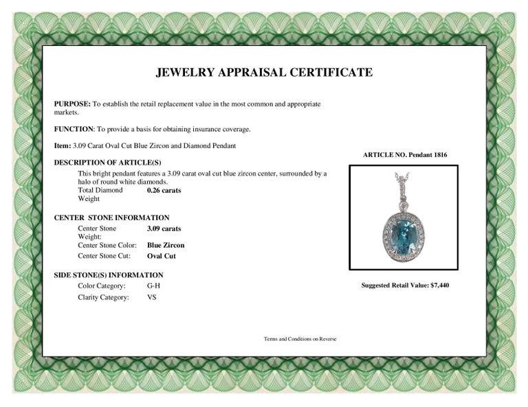 DiamondTown 3.09 Carat Oval Cut Blue Zircon and Diamond Pendant  For Sale 1