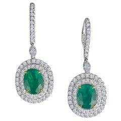 DiamondTown 3.73 Carat Fine Emerald and 1.76 Carat Diamond Earrings
