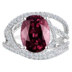 DiamondTown 4.14 Carat Oval Cut Raspberry Garnet Fashion Ring