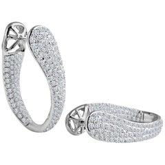 DiamondTown 4.28 Carat Diamond Hoop Earrings in 18 Karat White Gold