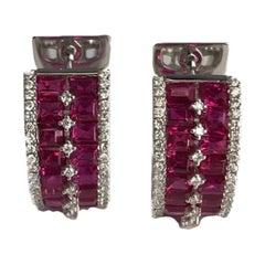 DiamondTown 4.47 Carat Ruby and Diamond Huggie Hoop Earrings in 18 Karat Gold