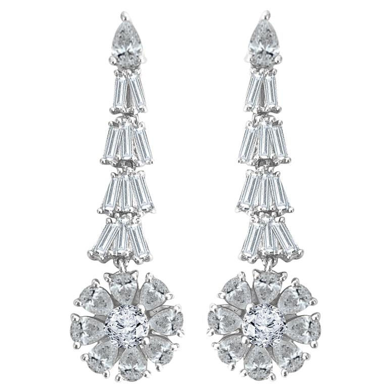 Diamond Town 4.98 Carat Dangle Stud Flower Earrings in 18k White Gold