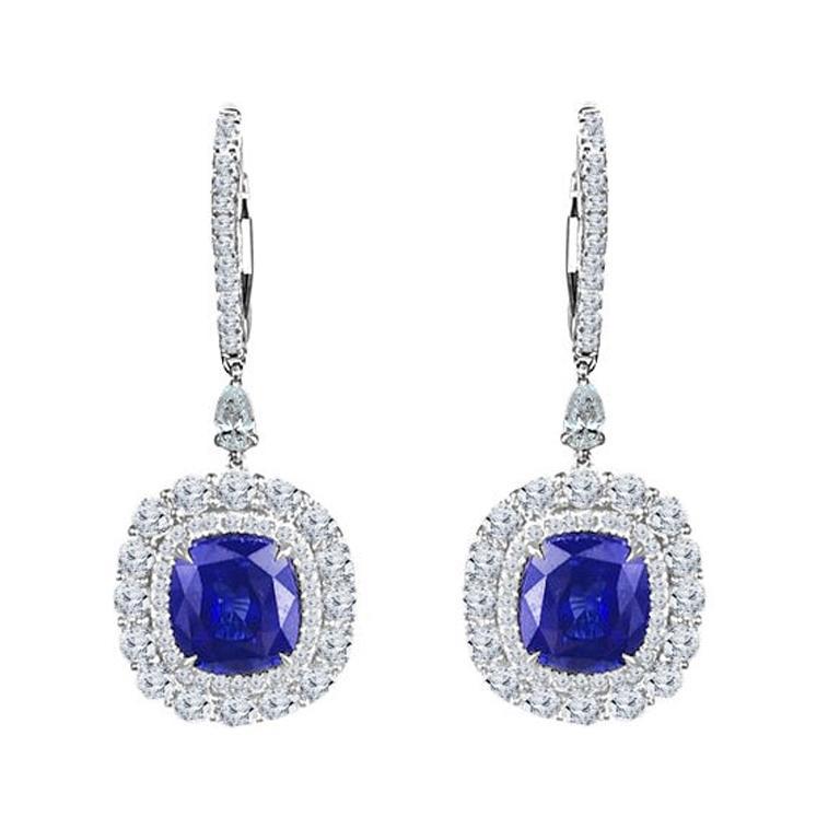 DiamondTown 5.43 Carat Cushion Cut Sapphire Hoop Dangle Earrings in 18k Gold