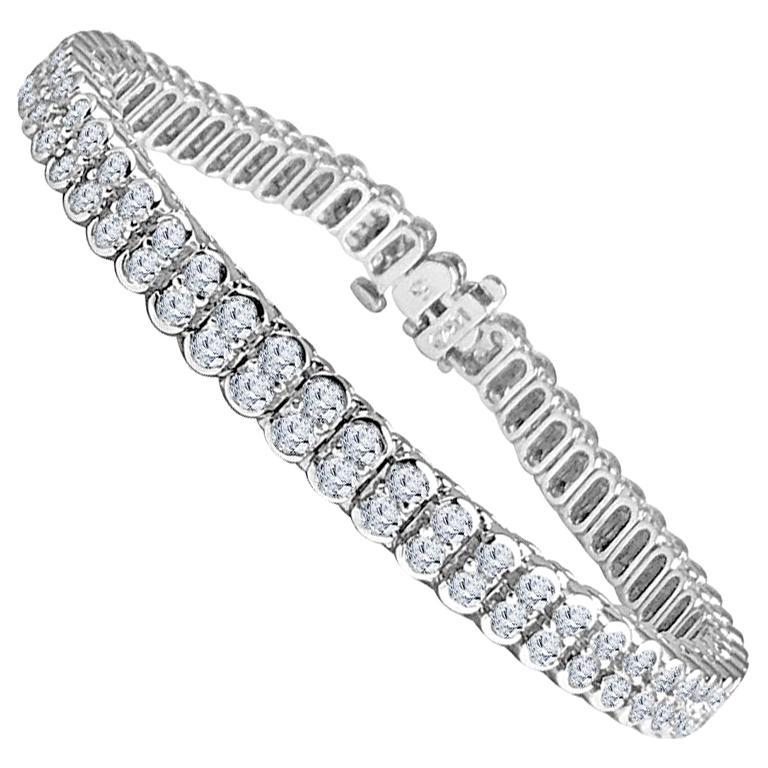 DiamondTown 5.5 Carat Diamond Tennis Bracelet in 14 Karat White Gold