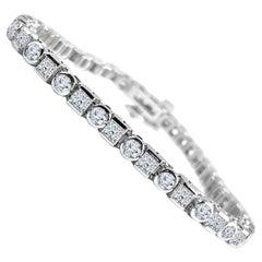 DiamondTown 5.54 Carat Diamond Tennis Bracelet in 14 Karat White Gold