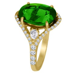 DiamondTown 6.41 Carat Oval Cut Exotic Green Tourmaline and Diamond Ring