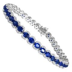 DiamondTown 7.64 Carat Vivid Blue Sapphire and Diamond Bracelet