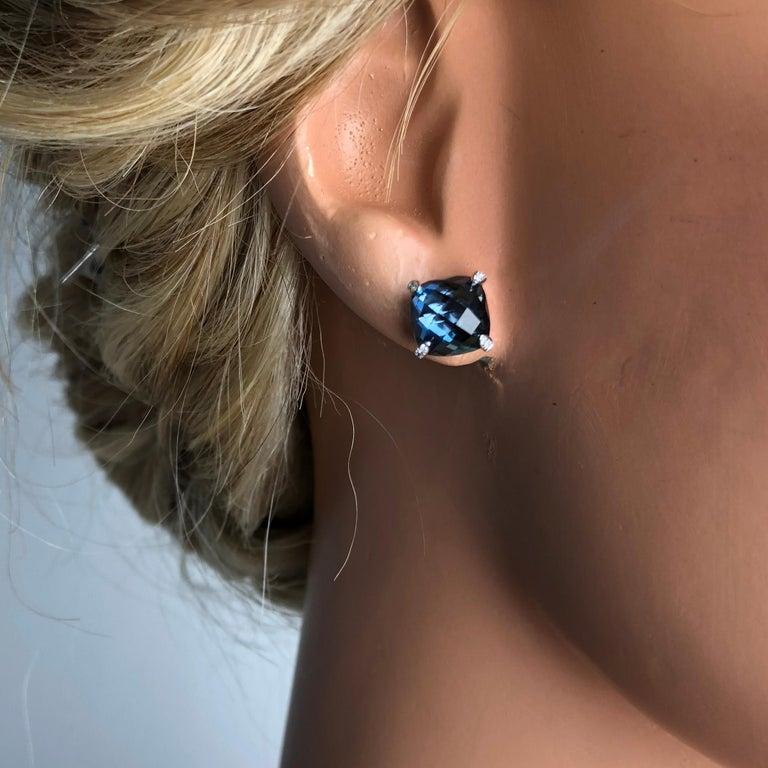 Contemporary DiamondTown 7.92 Carat London Blue Topaz Earrings in 14 Karat White Gold For Sale