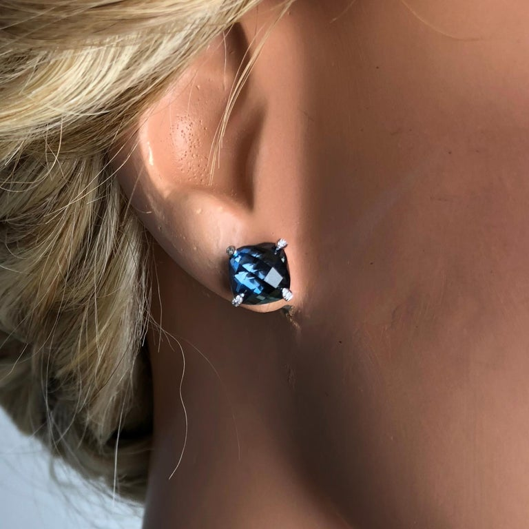 DiamondTown 7.92 Carat London Blue Topaz Earrings in 14 Karat White Gold In New Condition For Sale In New York, NY