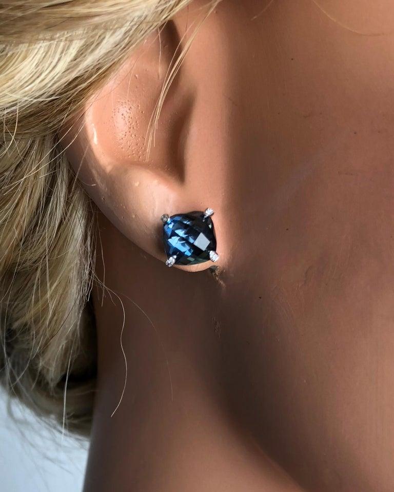 Women's DiamondTown 7.92 Carat London Blue Topaz Earrings in 14 Karat White Gold For Sale