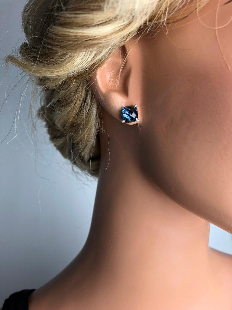 DiamondTown 7.92 Carat London Blue Topaz Earrings in 14 Karat White Gold For Sale 1