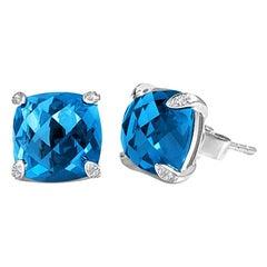 DiamondTown 7.92 Carat London Blue Topaz Earrings in 14 Karat White Gold