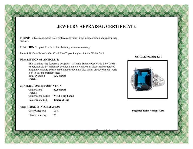 DiamondTown 8.29 Carat Emerald Cut Vivid Blue Topaz Ring in 14 Karat White Gold For Sale 1