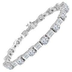 DiamondTown 9.51 Carat Round and Baguette Diamond Tennis Bracelet