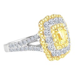 DiamondTown GIA Certified 0.68 Carat Natural Fancy Yellow Diamond Ring