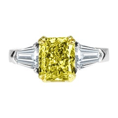 Diamond Town GIA Certified 1.68 Carat Natural Fancy Intense Yellow in Platinum