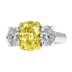 Diamond Town GIA Certified 2.01 Carat Natural Fancy Intense Yellow Diamond Ring