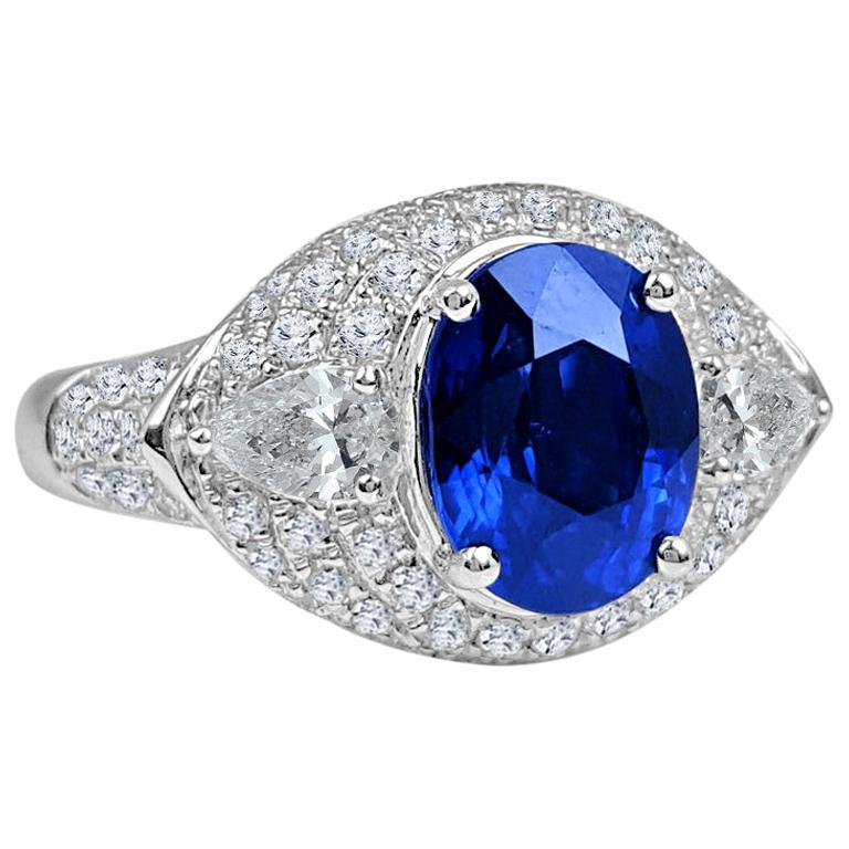 DiamondTown GIA Certified 3.04 Carat Oval Cut Ceylon Sapphire Ring