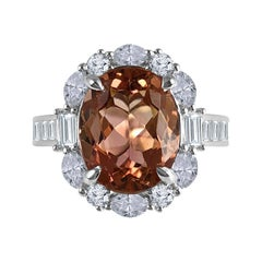 Diamond Town GIA Certified 3.76 Carat Oval Cushion Cut Exotic Tourmaline Ring