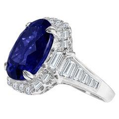 DiamondTown GIA Certified 8.30 Carat Oval Cut Bluish Violet Tanzanite Ring
