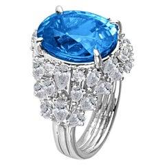 DiamondTown GIA Certified 8.34 Carat Greenish Blue Zircon and Diamond Ring