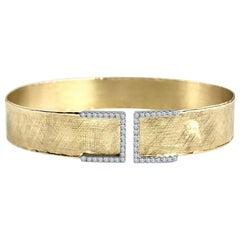 DiamondTown Yellow and White Gold Bangle with 0.32 Carat Diamond Accent