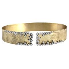 DiamondTown Yellow and White Gold Bangle with 0.78 Carat Diamond Accent