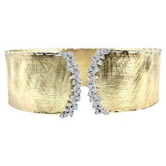 DiamondTown Yellow and White Gold Rustic Bangle with .58 Carat Diamond Accent