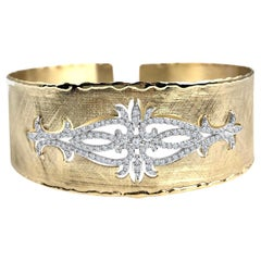 DiamondTown Yellow and White Gold Rustic Bangle with .83 Carat Diamond Accent