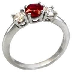 Diana Kim England Ruby and Diamond  Engagement Ring in Platinum