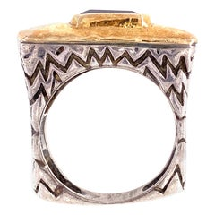 Dian Malouf  Designer Amethyst Sterling Gold Band Ring Estate Fine Jewelry