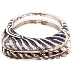 Dian Malouf  Designer Gold Sterling Silver Double Band Ring Estate Fine Jewelry